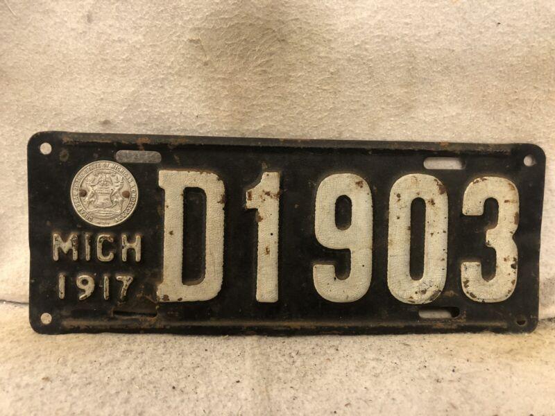 Vintage 1917 Michigan License Plate