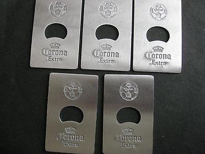 5 PC CORONA/CORONA LIGHT CREDIT CARD SIZE METAL BOTTLE OPENER NEW