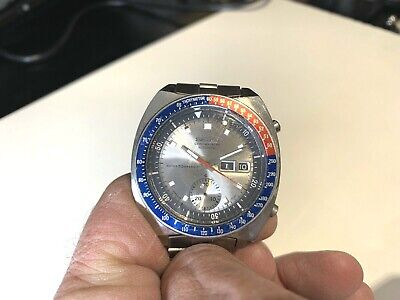 SEIKO PEPSI CHRONOGRAPH AUTOMATIC 70m WR WATCH. WORKING WITH ISSUES. 6139-6002