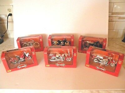 HARLEY-DAVIDSON MOTORCYCLES SERIES 5 MAISTO 1:18 DIECAST COMPLET SET OF SIX 1998