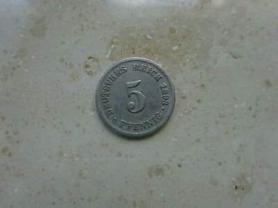 5 Pfennig Münze Deutsches Reich 1893 Prägestätte F Jäger 12