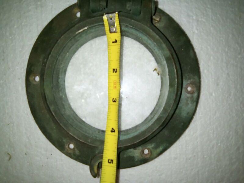 "Antique Brass Porthole Round 4"" Glass"