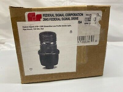 Federal Signal Lp3p-120r Streamline Low Profile Strobe Light Pipe Mount Red New