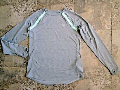Under Armour Women's Large Shirt Cold Gear Base Layer Gray Poly Stretch Green