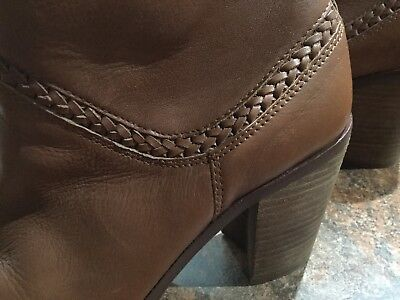 FABULOUS BROWN ANKLE BOOTS ~ALDO~BRAIDED LEATHER SIZE 9 E