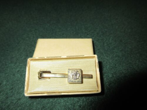 Vintage Gold Tone Two Head Bird 32nd Degree Masonic Tie Tack Bar In Box