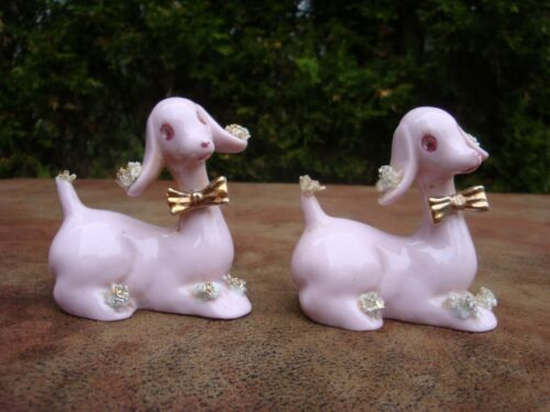 Vintage Pink Poodles Ceramic/Porcelain Salt and Pepper Shakers-Japan