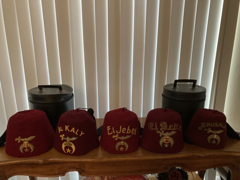 Fez Collection 5 Shriner Hats with Jewelry
