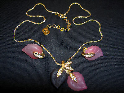 Rare VTG Christian Dior Pink Molded Glass Rhinestone Leaf Necklace Earrings Set