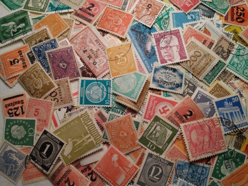 50+ All Different Vintage German Deutsche Post Deutschland Stamps 50% Mint