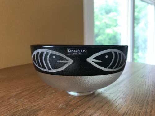 Kosta Boda Ulrica Hydman Vallien Hand Painted Glass Bowl Kaboka- Fish- signed