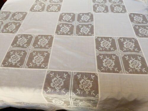 "VTG Ecru color Hand made Lace Square Block Tablecloth 64"" x 85"""