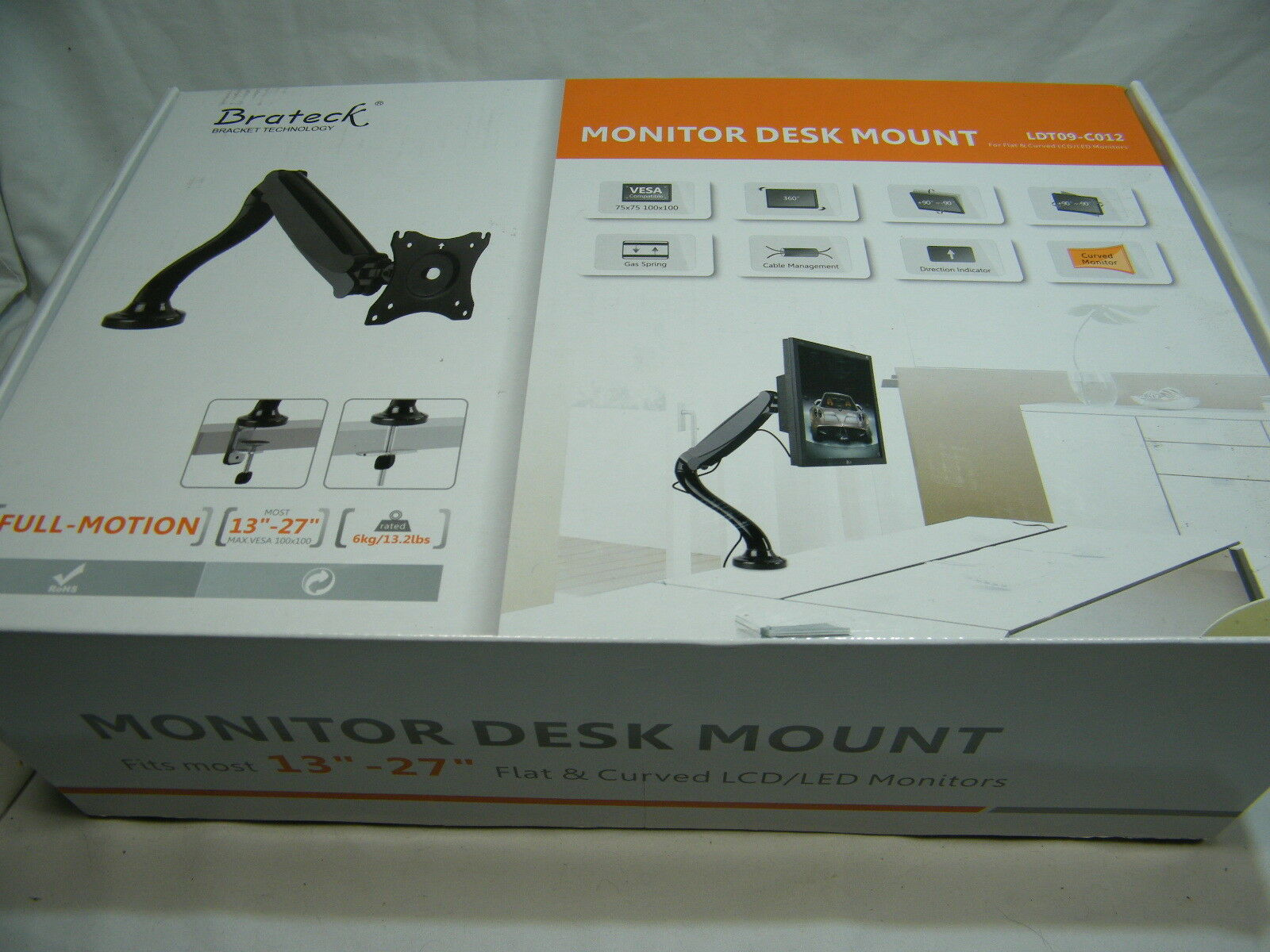 Brateck LTD09C012 Single Full-Motion Balanced VESA Desk Moun
