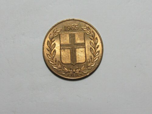 Old Iceland Coin - 1965 5 Aurar - Circulated, rim dings