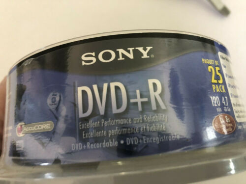 Sony DVD+R 25 Pack 120 Min 4.7 GB New in Sealed Spindle Pack Package Damaged