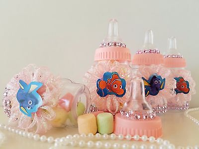 Nemo & Dory 12 Pink Fillable Bottles Baby Shower Game Under The Sea Favors - Nemo Baby Shower