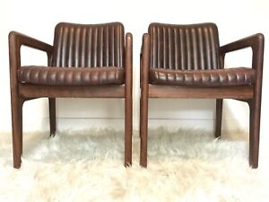 Rare pair retro Mid Century Arthur Stutchbury chairs, Parker Era.