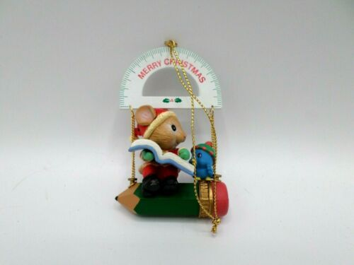 Lustre Fame 1992 Christmas Ornament Protractor Mouse Pencil Blue Bird