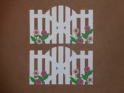 """2 white picket fence with pink flowers 2 1/2"""" x 4"""" die cuts"""