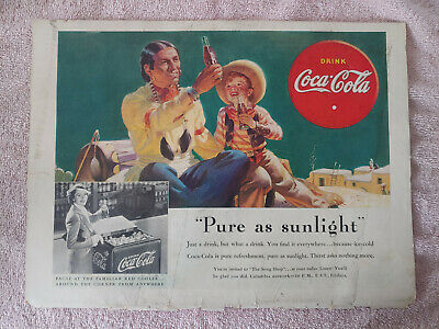 1938 VTG Coke Coca Cola Soda Orig Magazine Ad Print Pure As Sunlight Native