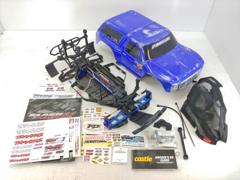 Traxxas Slash 4x4 Ultimate Edition Roller Slider Chassis UPGRADED w/ Body &Extra