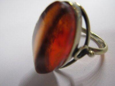 Art Deco - 875 Silber vergoldet - Natur- Bernstein Ring - D: ca. 1,8 cm