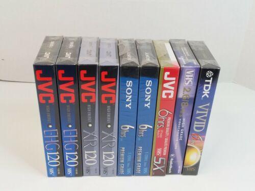 (9X) Lot of Blank Video VHS Tapes JVC, Sony, TDK, Radioshack