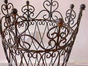 BEAUTIFUL FRENCH  UMBRELLA antique brown paper STAND WROUGHT IRON NEW