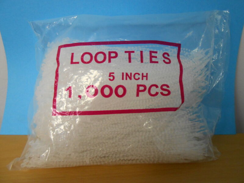 "1,000- 5"" Tie Lock Tag Fastners-Adjustable Security beaded Loop Clear Plastic"