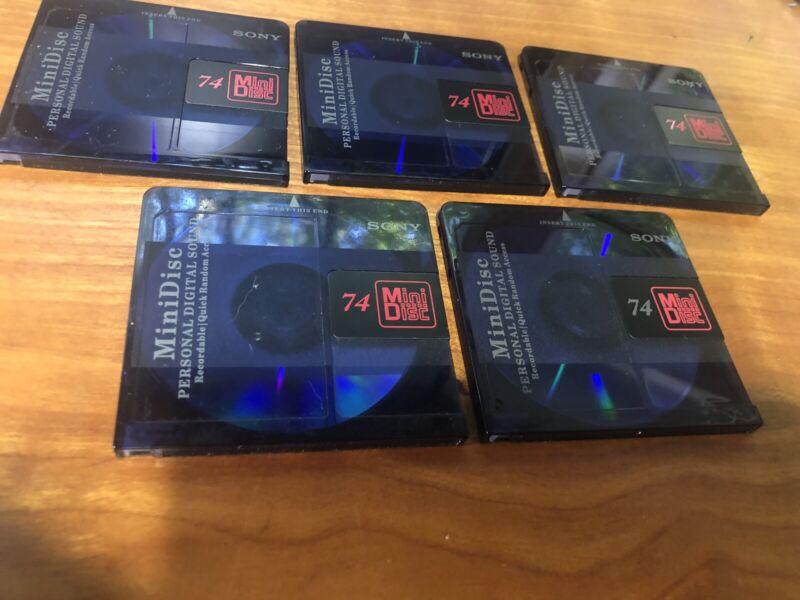 5  Sony Indigo Blue MiniDiscs 74 minute Minidiscs  Red Label