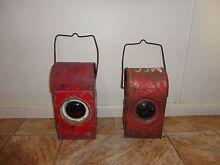 Two vintage railway oil lamps/lanterns-can post Armidale City Preview