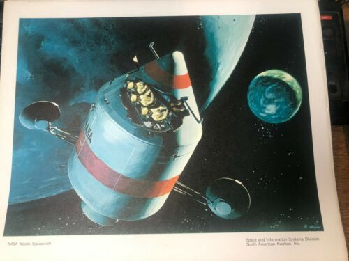 OLD VINTAGE NORTH AMERICAN AVIATION ADV PRINT NASA APOLLO cr space 12by15 inches