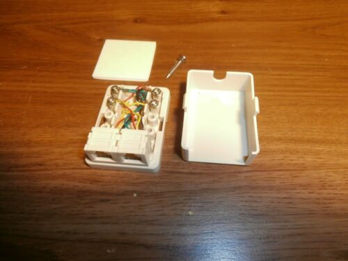 RJ11 DUAL SURFACE MOUNT  4 COND. TELEPHONE OUTLET JACK BOX,IVORY,NOS