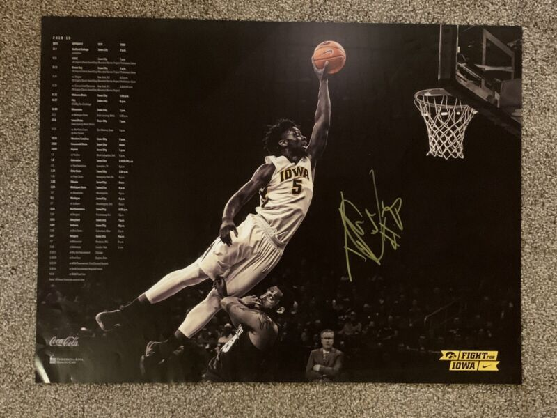 TYLER COOK HAND SIGNED IOWA HAWKEYES BASKETBALL TEAM POSTER AUTHENTIC COA