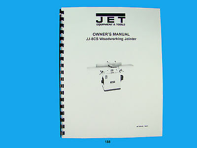 Jet  Jj-8cs Woodworking Jointer Owners Manual 188