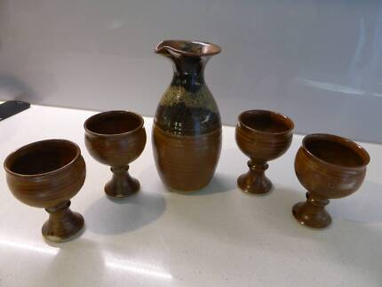 Pottery Carafe and Goblets