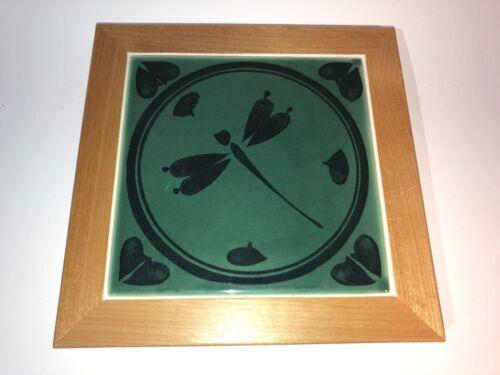 """Vintage Wood Framed Tile Dragonfly Design Artist Decor piece 8"""" x 8"""""""