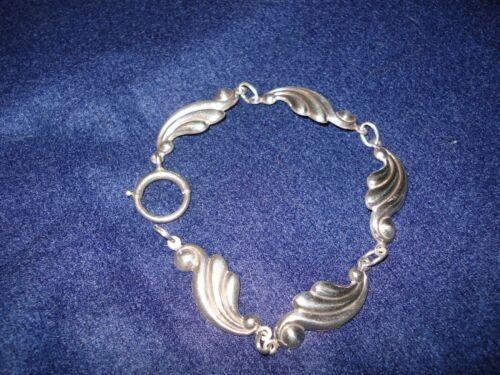 """Vtg signed Danecraft Sterling silver 7.5"""" link bracelet waves scrolls"""