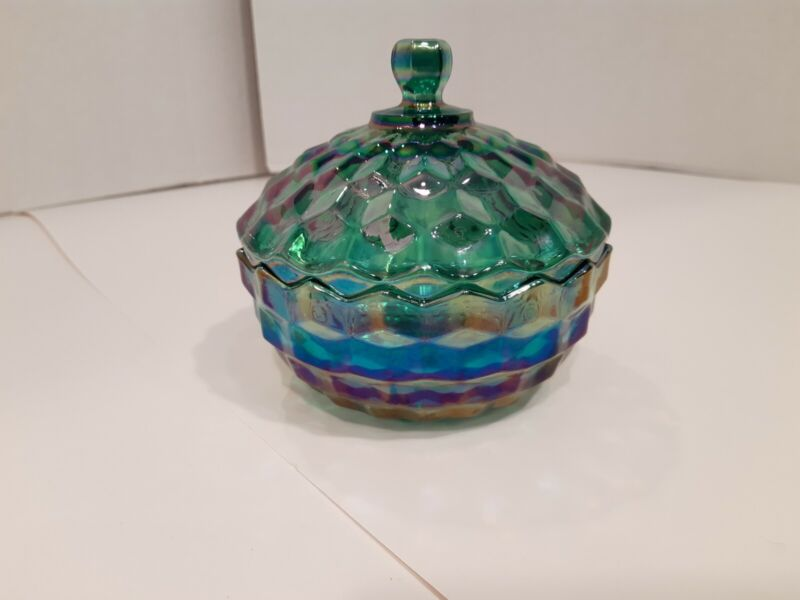 Vintage Indiana Glass Whitehall Candy Dish w/ Lid Iridescent Aqua Carnival HTF