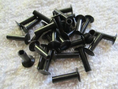 "25 VINTAGE BLACK JAPANNED 9/16"" x 1/8"" SEMI HOLLOW TUBULAR RIVETS, 5/16"" HEAD"