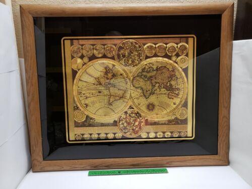 Vintage Planisphaerium Terrestre Gold Foil World MapIn Oak Frame