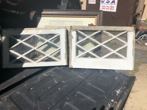 "vintage c1900 mission Tudor window frame sash diamond pattern 20"" w x 12/13"" h"