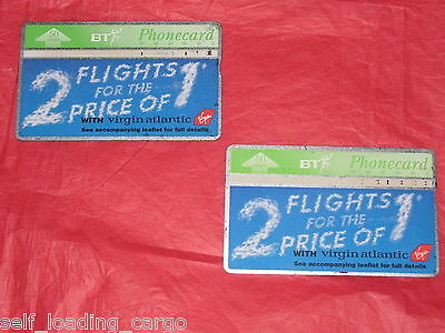 2 x VIRGIN ATLANTIC BT PHONECARDS - 2 for 1 FLIGHTS OFFER 1995 - EXC