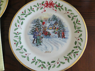 Lenox Annual Holiday Collectors Plates 11Th 2001 Children And Santa In Truck