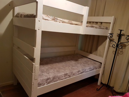 white, solid wood bunk beds & mattresses