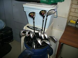 GOLF 10 trident clubs + 3 metal prelude woods + balls, tees + bag Toowong Brisbane North West Preview
