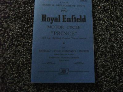 Royal Enfield 150 Prince Parts Book 1959