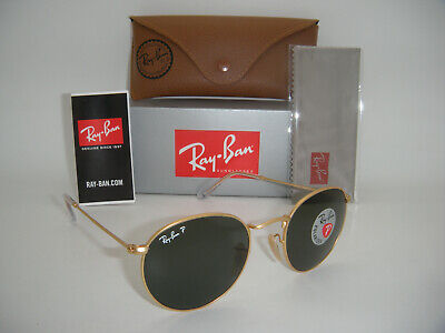 Authentic Ray-Ban Round Metal RB 3447 112/58 50mm Matte Gold / Green Polarized (Rb3447 Polarized)