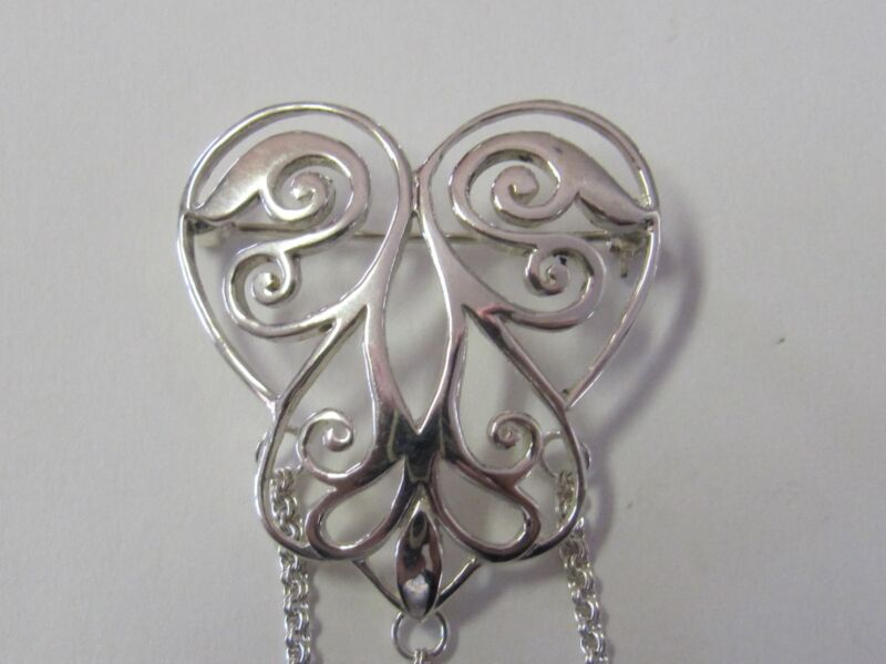 OPENWORK HEART STERLING SILVER CHATELAINE PIN - NEW