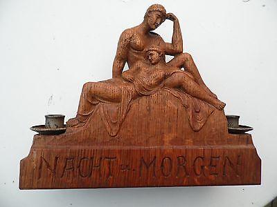 Kerzenleuchter,Skulptur aus Eichenholz geschnitzt,Nacht u.Morgen